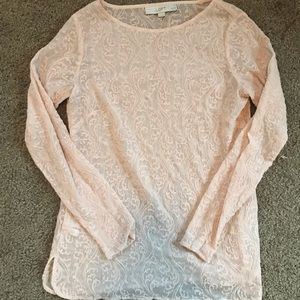 See through blush long sleeve blouse